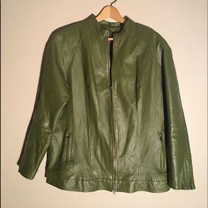 LEATHER jacket JESSICA LONDON bomber olive green